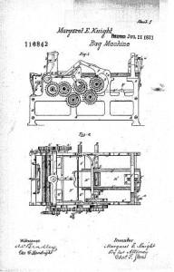 Margaret Knight Patent Diagram of Paper Bag Making Machine